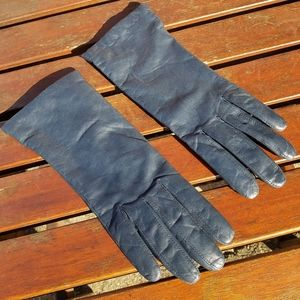 Aris Cashmere Lined Leather Gloves Blue Size 7 1/2